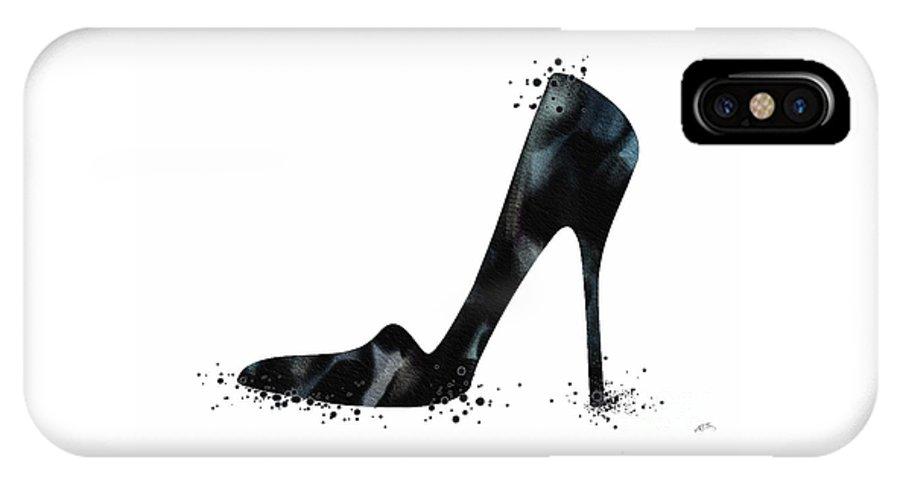 Watercolor Print IPhone X Case featuring the digital art Black Shoe Fashion Watercolor Print by Svetla Tancheva