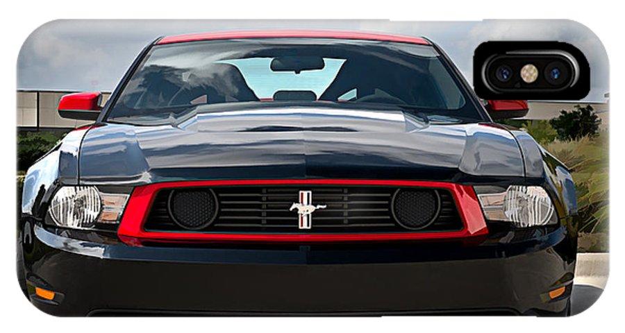 Mustang IPhone X Case featuring the digital art Black Stallion by Douglas Pittman