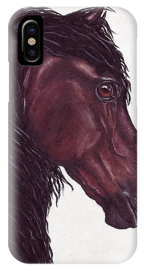 Horse IPhone X / XS Case featuring the painting Black Sterling I by Kristen Wesch