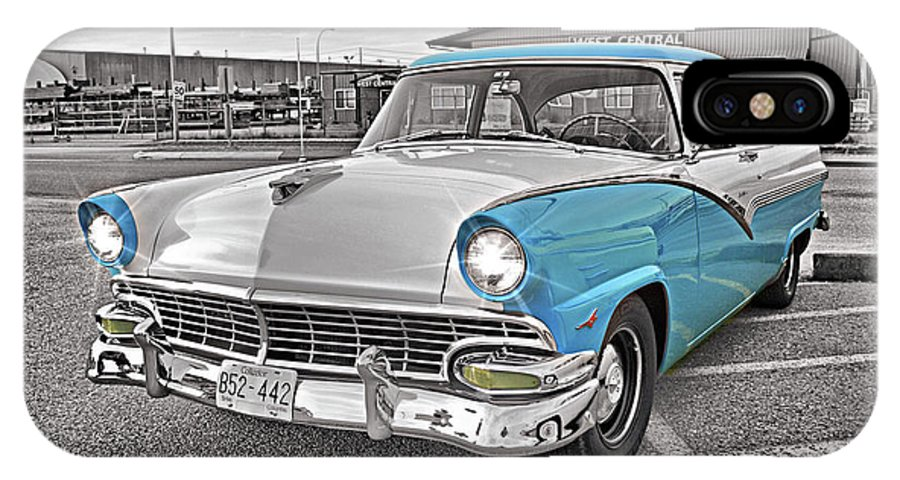 Cars IPhone X / XS Case featuring the photograph Black White And Blue by Randy Harris