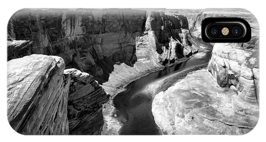 Horseshoe Bend IPhone X Case featuring the photograph Black White Colorado River by Chuck Kuhn
