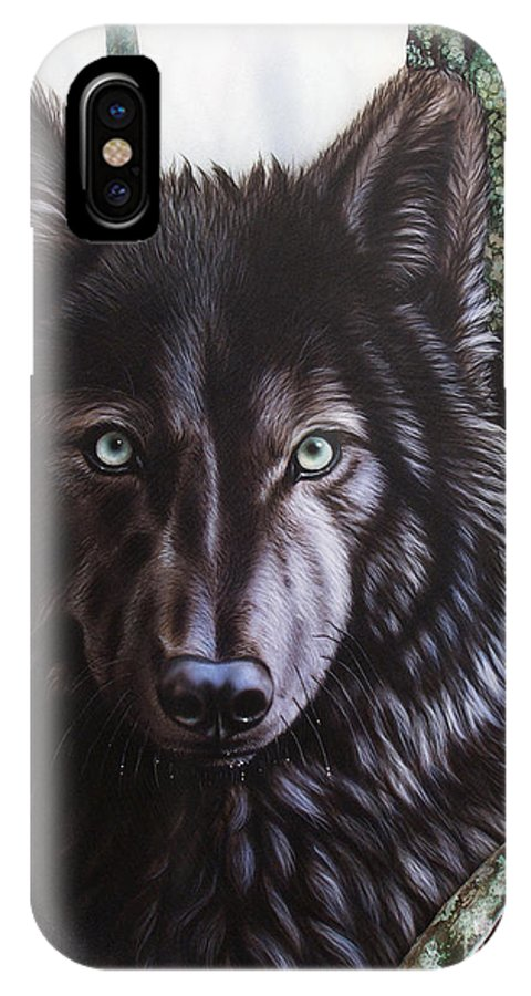 Wolves IPhone X Case featuring the painting Black Wolf by Sandi Baker