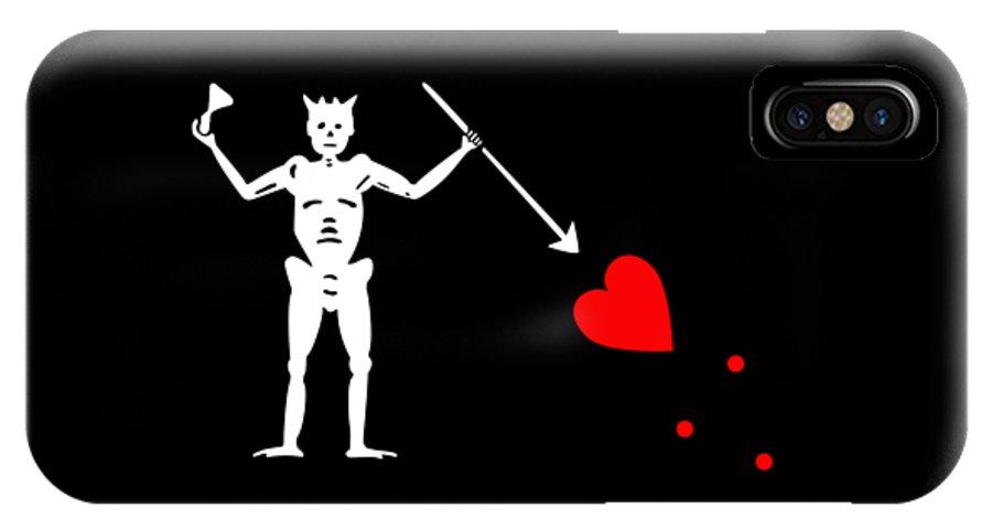 Tee IPhone X Case featuring the digital art Blackbeard Pirate Flag Tee by Edward Fielding