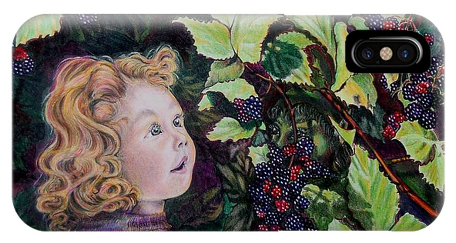 Blackberry IPhone X Case featuring the drawing Blackberry Elf by Susan Moore