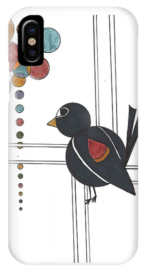 IPhone X Case featuring the drawing Blackbird With Circles by Kelly Pratt