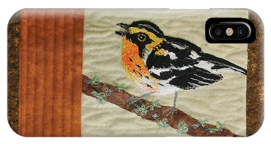 Quilt IPhone X Case featuring the tapestry - textile Blackburn Warbler by Dolores Fegan