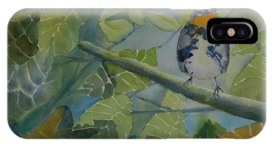 Bird IPhone X Case featuring the painting Blackburnian Warbler I by Ruth Kamenev