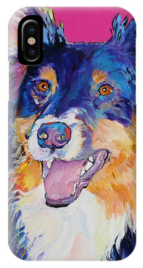 Dog IPhone X Case featuring the painting Blackjack by Pat Saunders-White