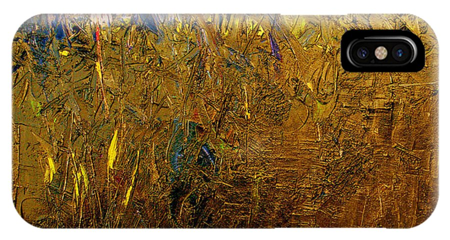 Abstract IPhone X Case featuring the painting Blades Of Grass by Ruth Palmer