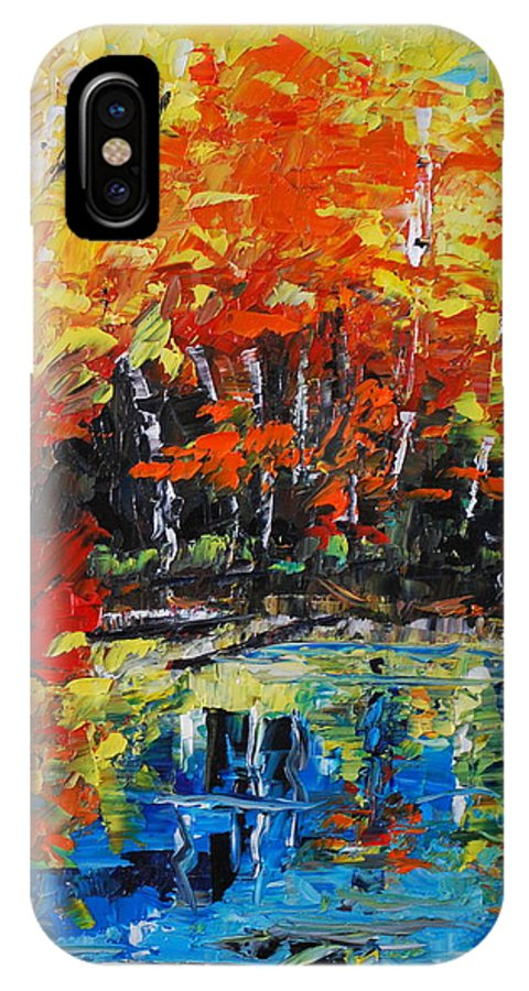 Landscape IPhone X Case featuring the painting Blazing Reflections by Phil Burton