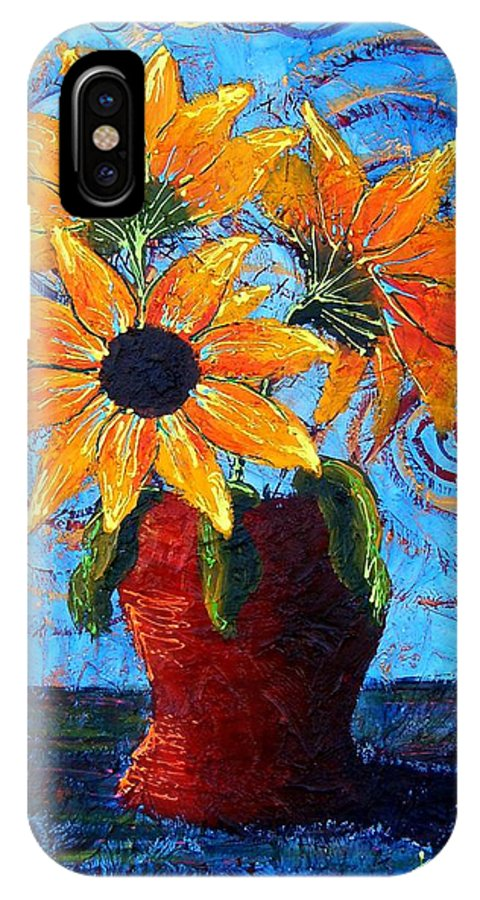 IPhone X Case featuring the painting Blazing Sunflowers by Tami Booher