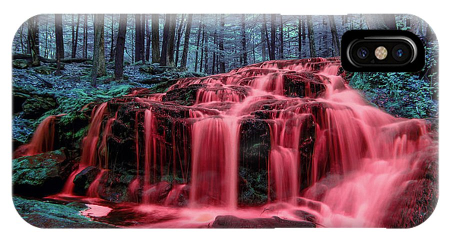 Blood Falls Rain In Blood Reign Red Water Fall Waterfall Infrared Ir Full Spectrum Full-spectrum Fullspectrum Milford Nh New Hampshire Nature Color Colour Colorful Colourful Bleeding Tucker Brook IPhone X Case featuring the photograph Bleeding Falls 1 by Brian Hale