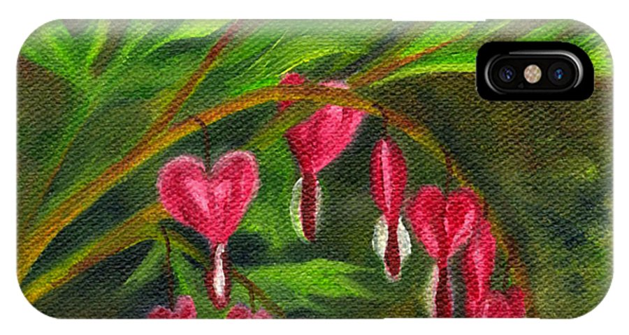Bleeding Heart IPhone X Case featuring the painting Bleeding Hearts by FT McKinstry