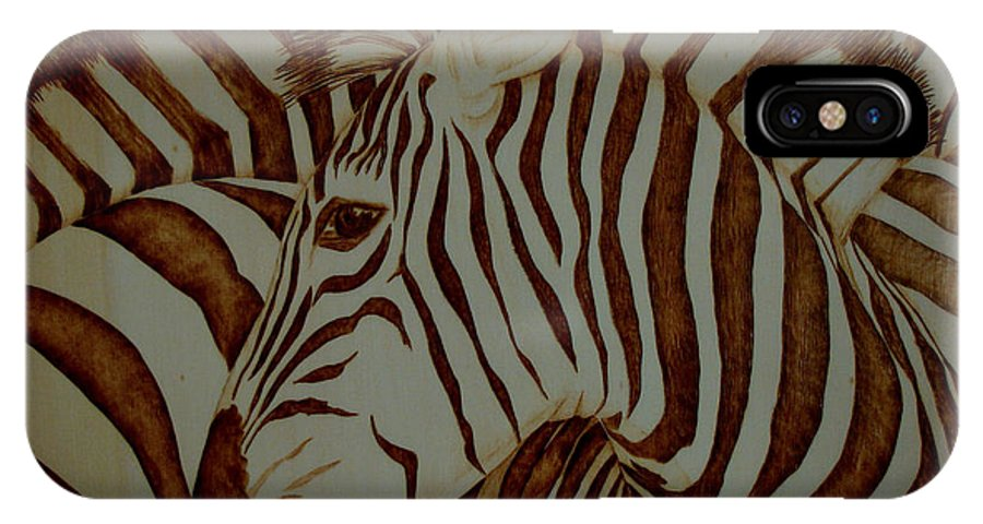 Pyrography; Woodburning; Sepia; Zebra; Stripes; Wild Life; Africa; Horse; Herd; IPhone X Case featuring the pyrography Blending In by Jo Schwartz