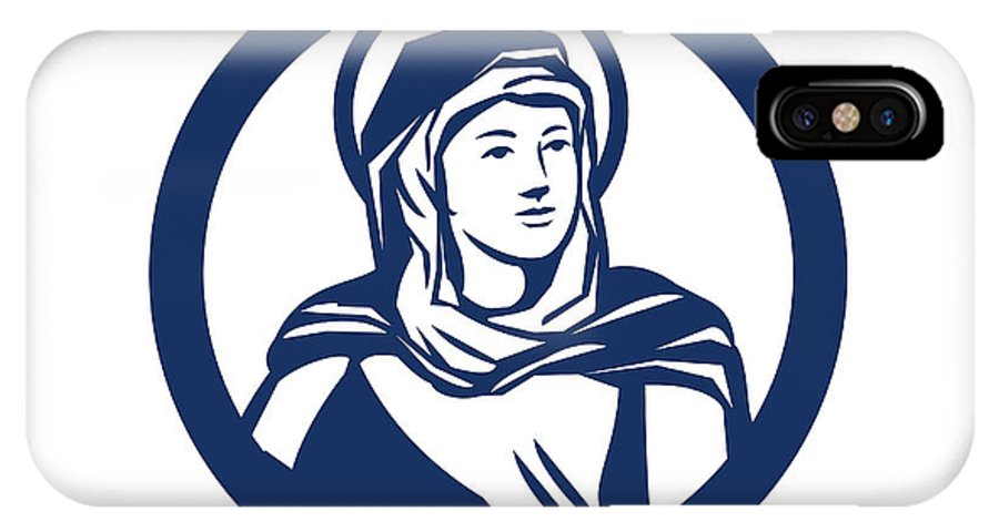 Blessed Virgin Mary IPhone X Case featuring the digital art Blessed Virgin Mary Circle Retro by Aloysius Patrimonio