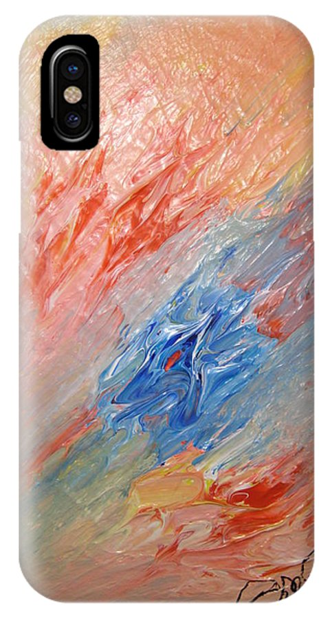 Abstract IPhone X Case featuring the painting Bliss - B by Brenda Basham Dothage