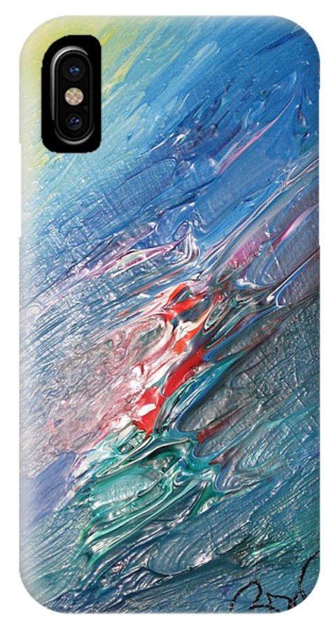 Abstract IPhone X Case featuring the painting Bliss - F by Brenda Basham Dothage