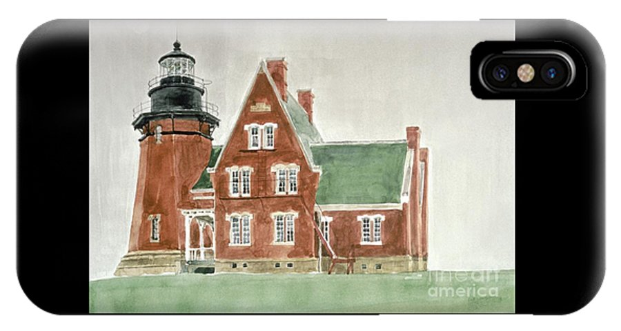 Lighthouse IPhone X Case featuring the painting Block Island Southeast Lighthouse by Robert Bowden