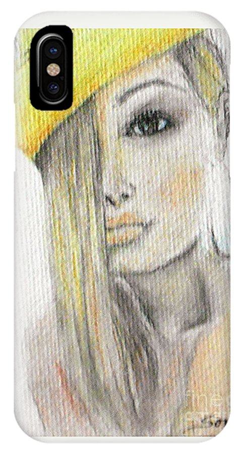 Blonde Woman IPhone X Case featuring the drawing Blonde Hair, Yellow Hat -- The Original by Jayne Somogy