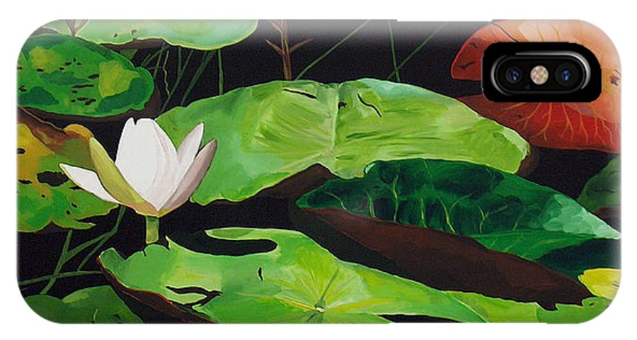 Lily Pad IPhone X Case featuring the painting Bloom by Racquel Morgan