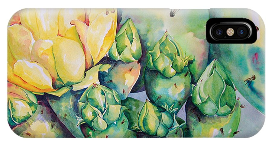 Desert Flowers IPhone X Case featuring the painting Blooming Cactus by Kandyce Waltensperger