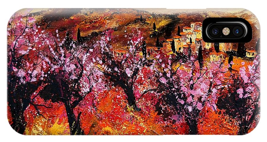 Provence Cherrytree Summer Spring IPhone X Case featuring the painting Blooming Cherry Trees by Pol Ledent