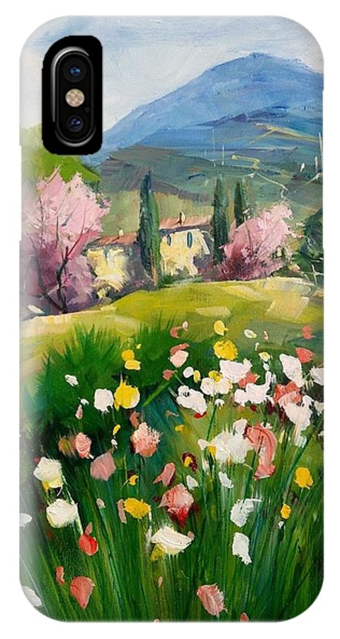 Painting IPhone X Case featuring the painting Blooming Tuscany Landscape by Alessandra Paci