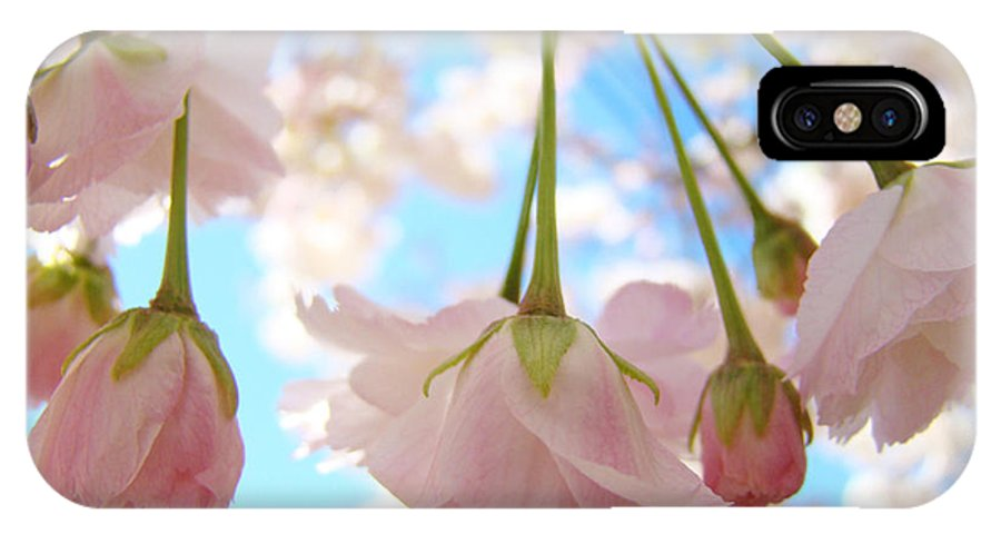 �blossoms Artwork� IPhone X Case featuring the photograph Blossoms Art Prints 52 Pink Tree Blossoms Nature Art Blue Sky by Baslee Troutman