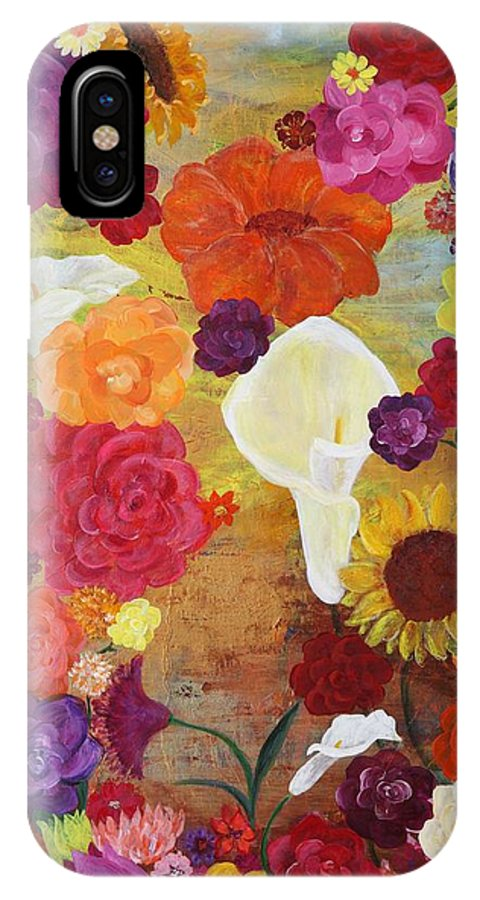 Flowers Garden Colors Pretty Joy IPhone X Case featuring the painting Blossoms By The Sea Full by Sabra Chili
