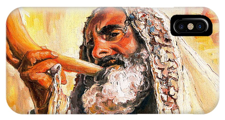 Rabbis IPhone X Case featuring the painting Blow The Trumpet In Zion by Carole Spandau