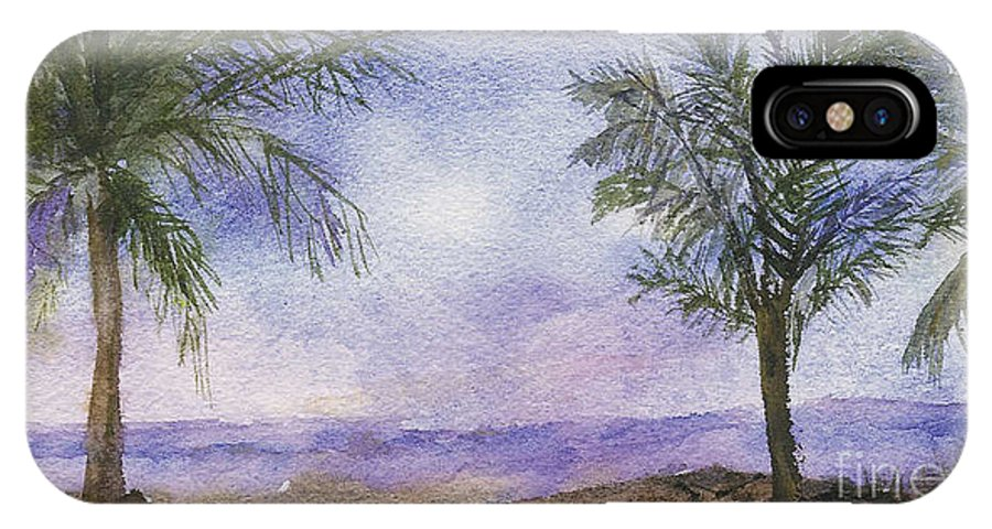 Landscape IPhone X Case featuring the painting Blowing By The Ocean by Vicki Housel