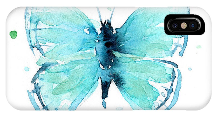 Watercolor IPhone X Case featuring the painting Blue Abstract Butterfly by Olga Shvartsur