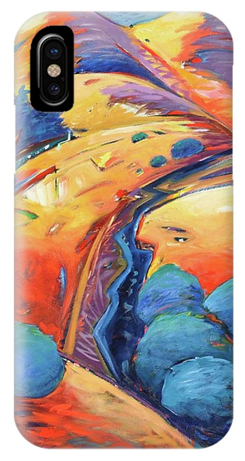 Hills IPhone X Case featuring the painting Blue And Gold by Gary Coleman