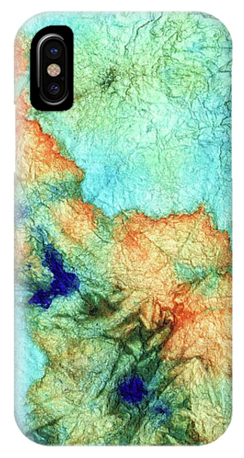 Teal IPhone X Case featuring the painting Blue And Orange Abstract - Time Dance - Sharon Cummings by Sharon Cummings