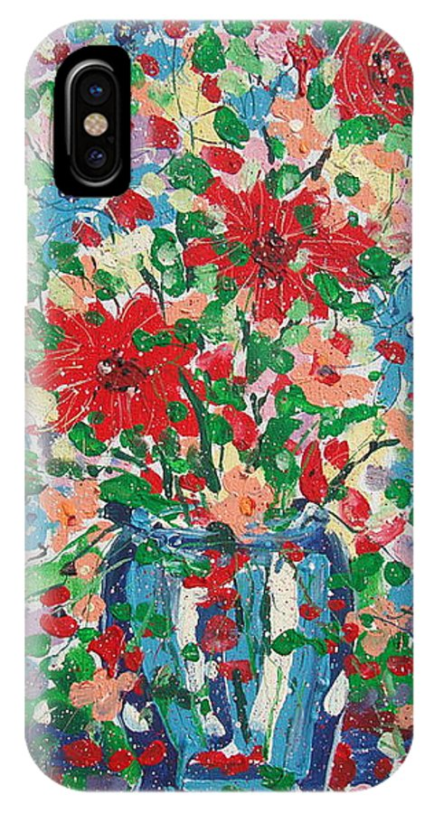 Painting IPhone X Case featuring the painting Blue And Red Flowers. by Leonard Holland