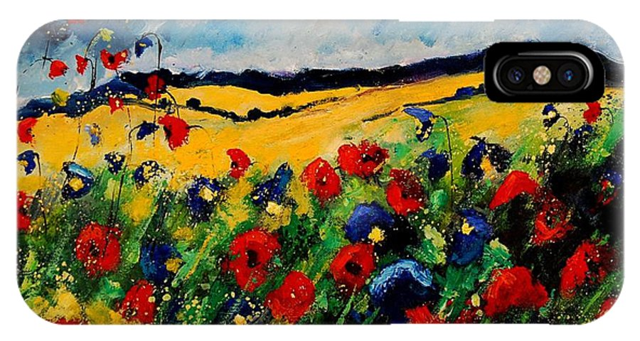 Poppies IPhone X Case featuring the painting Blue And Red Poppies 45 by Pol Ledent