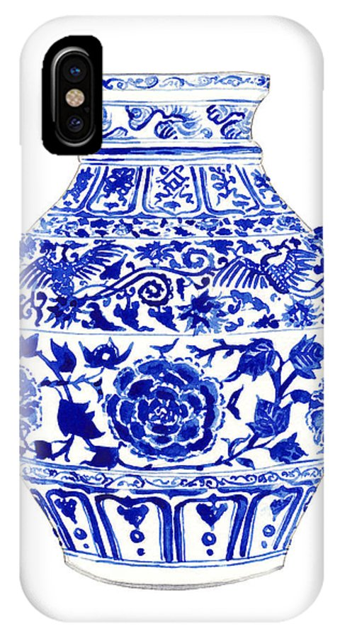 5cf89711d23 Blue And White China IPhone X Case featuring the painting Blue And White  Ginger Jar Chinoiserie
