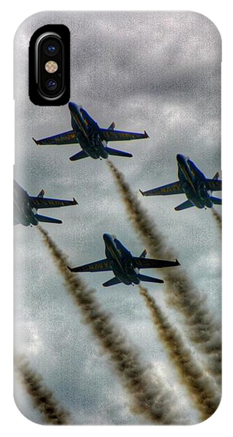 Blue Angels IPhone X Case featuring the photograph Blue Angels In Formation by Stuart Rosenthal