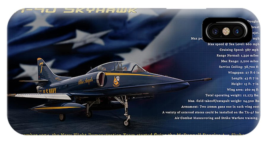 Blue Angels IPhone X Case featuring the photograph Blue Angels Ta-4j Skyhawk by Richard Hamilton