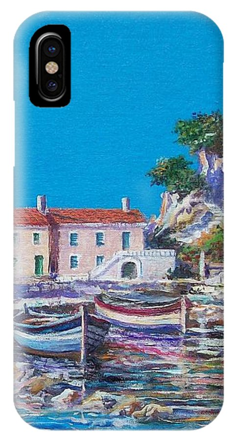 Original Painting IPhone X Case featuring the painting Blue Bay by Sinisa Saratlic
