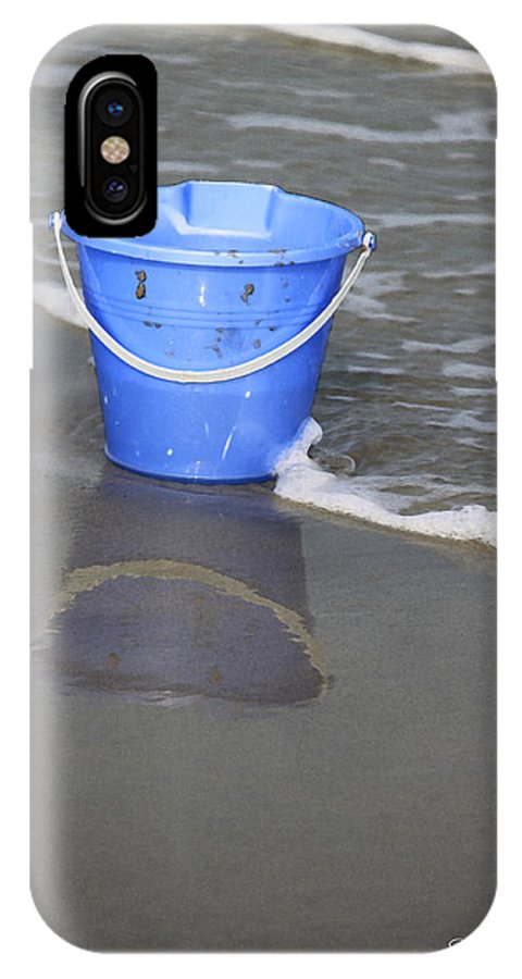 Blue IPhone X Case featuring the photograph Blue Beach Bucket by Suzanne Gaff