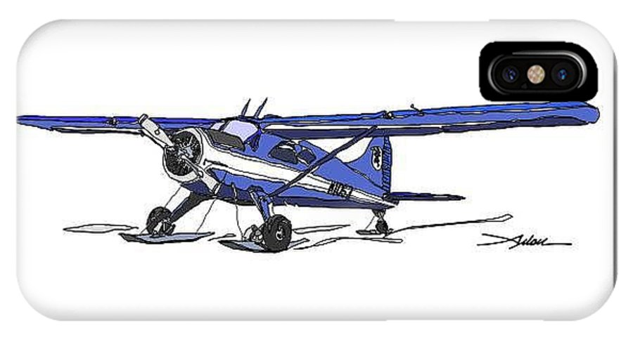 Beaver IPhone X / XS Case featuring the drawing Blue Beaver On Skis by Arlon Rosenoff