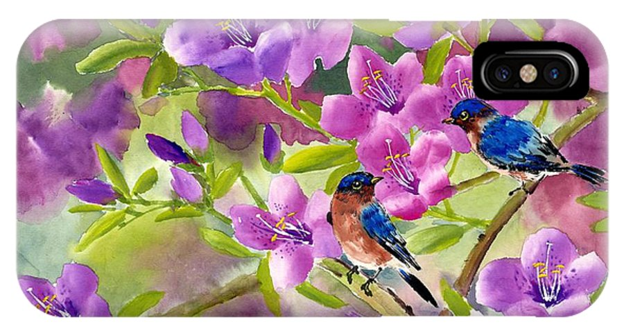 Blue Birds IPhone X Case featuring the painting Blue Birds With Azalea by Eileen Fong