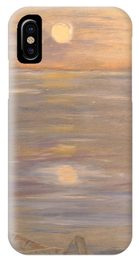 Boat IPhone X Case featuring the painting Blue Boat by Patricia Caldwell