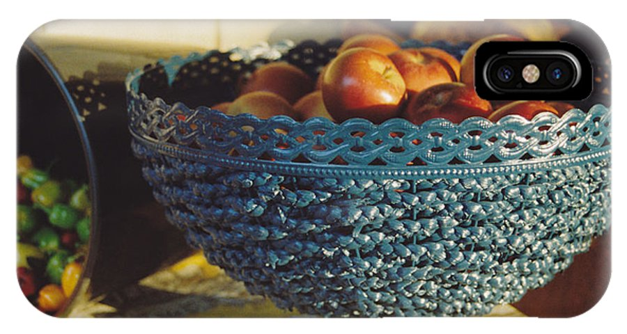 Still Life IPhone X Case featuring the photograph Blue Bowl by Jan Amiss Photography