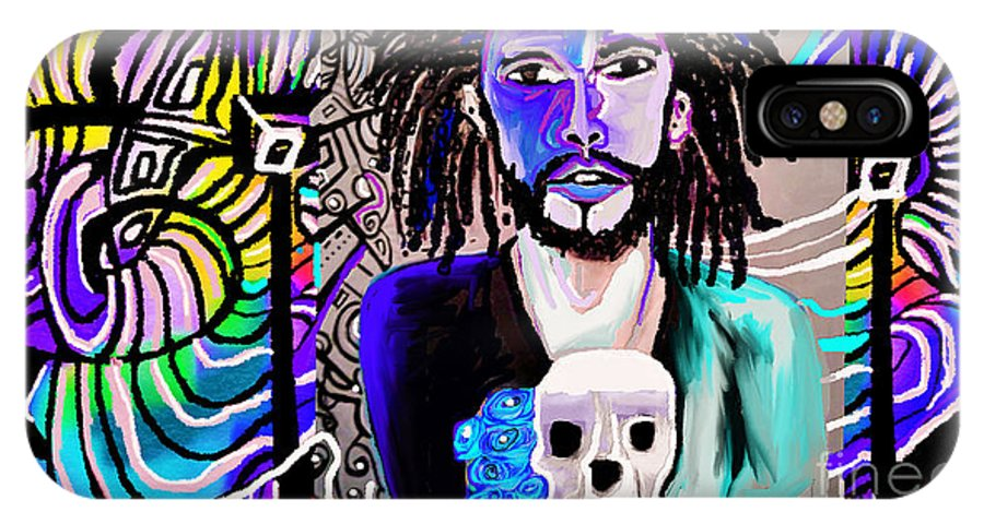 My Blue Boy Andre Allen IPhone X Case featuring the painting blue boy J cole by Jackie Pecoroni