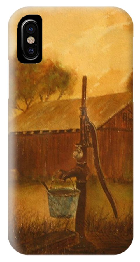 Barn; Bucket; Country IPhone Case featuring the painting Blue Bucket by Ben Kiger