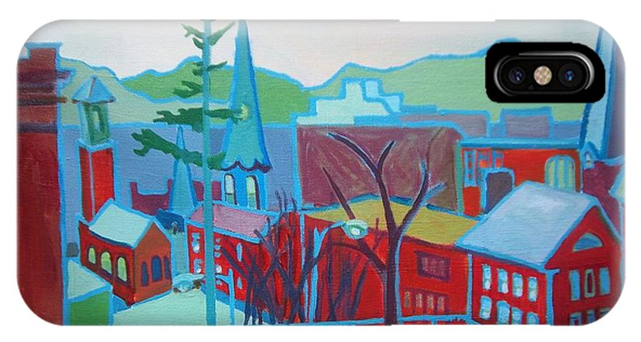 Burlington IPhone X Case featuring the painting Blue Burlington by Debra Bretton Robinson