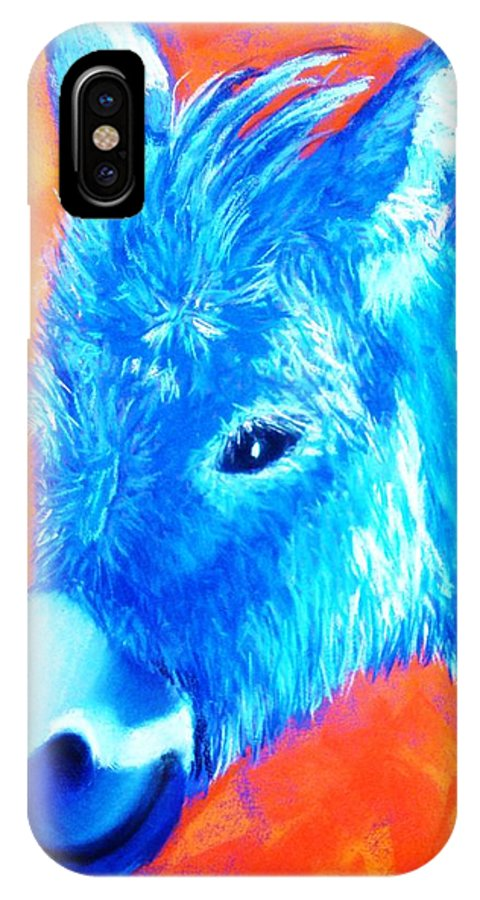 Burro IPhone X Case featuring the painting Blue Burrito by Melinda Etzold