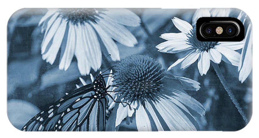 Butterfly IPhone X Case featuring the digital art Blue Butterfly by David Stasiak